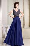 Antique A-line V-neck Chiffon Floor Length Pleated Evening Dresses
