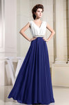 Elegant V-neck Sleeveless Chiffon Floor Length Pleated Bridesmaid Dresses