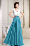 Elegant V-neck Sleeveless Chiffon Floor Length Pleated Bridesmaid Dresses