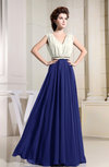 Hawaiian V-neck Sleeveless Zipper Floor Length Pleated Bridesmaid Dresses