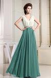 Hawaiian V-neck Sleeveless Zipper Floor Length Pleated Bridesmaid Dresses