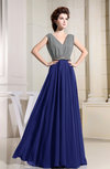 Vintage A-line V-neck Floor Length Pleated Bridesmaid Dresses
