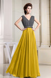 Elegant Sleeveless Zipper Chiffon Floor Length Pleated Prom Dresses