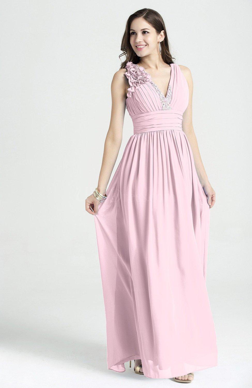 Blush Glamorous V Neck Sleeveless Chiffon Sequin Plus Size