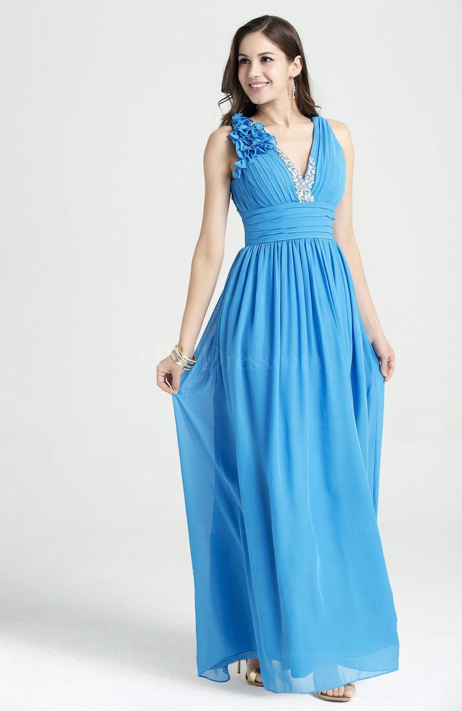 Cornflower Blue Glamorous V-neck Sleeveless Chiffon Sequin ... - photo#18