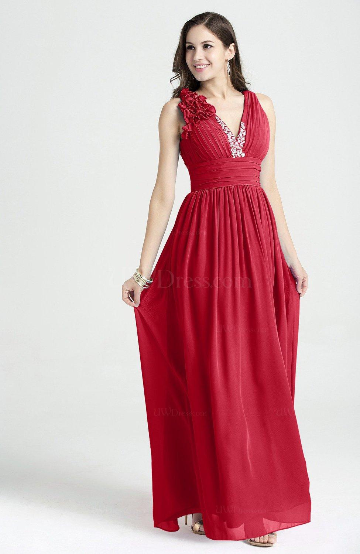 Red Glamorous V Neck Sleeveless Chiffon Sequin Plus Size