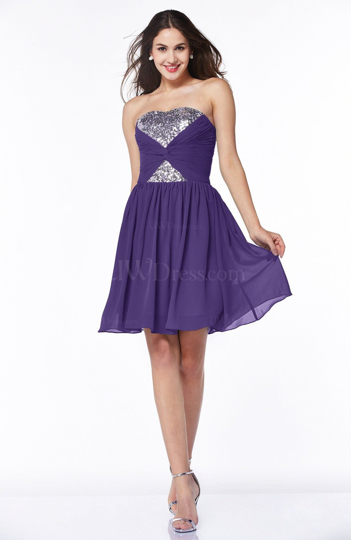 Dark Purple Hawaiian A-line Strapless Sleeveless Chiffon ...