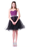 Gorgeous A-line Sweetheart Sleeveless Mini Beaded Plus Size Prom Dresses