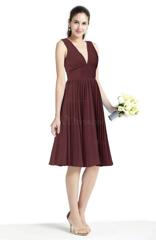 Burgundy plain a line v neck zip up chiffon sash plus size for Burgundy wedding dresses plus size