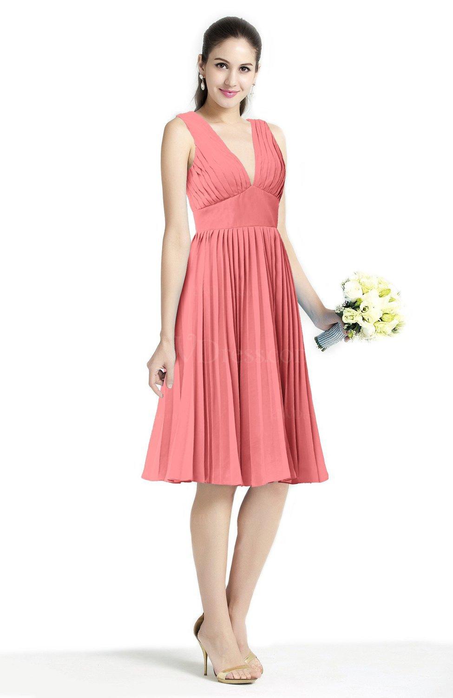 Coral plain a line v neck zip up chiffon sash plus size for Plus size coral dress for wedding