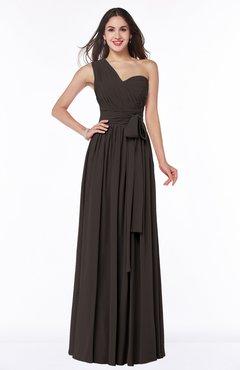 Fudge Brown Modern Sleeveless Half Backless Floor Length Ribbon Plus Size Bridesmaid Dresses