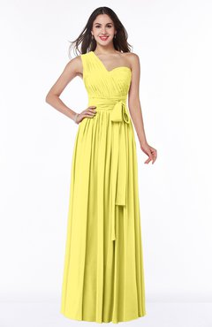 Yellow Iris Modern Sleeveless Half Backless Floor Length Ribbon Plus Size Bridesmaid Dresses