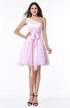 Cute Asymmetric Neckline Sleeveless Half Backless Ribbon Plus Size Bridesmaid Dresses