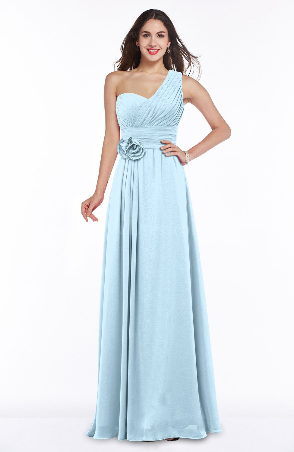 Ice blue elegant asymmetric neckline zipper chiffon for Ice blue wedding dress