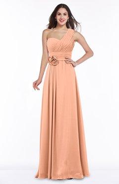 Salmon Elegant Asymmetric Neckline Zipper Chiffon Ruching Plus Size Bridesmaid Dresses