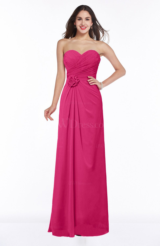 Fuschia modern a line sweetheart chiffon floor length plus for Chiffon plus size wedding dresses