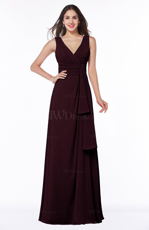 Burgundy vintage sleeveless zipper floor length sash plus for Burgundy wedding dresses plus size