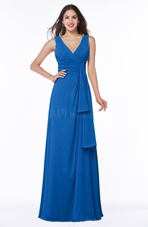 Royal blue vintage sleeveless zipper floor length sash for Royal blue plus size wedding dresses