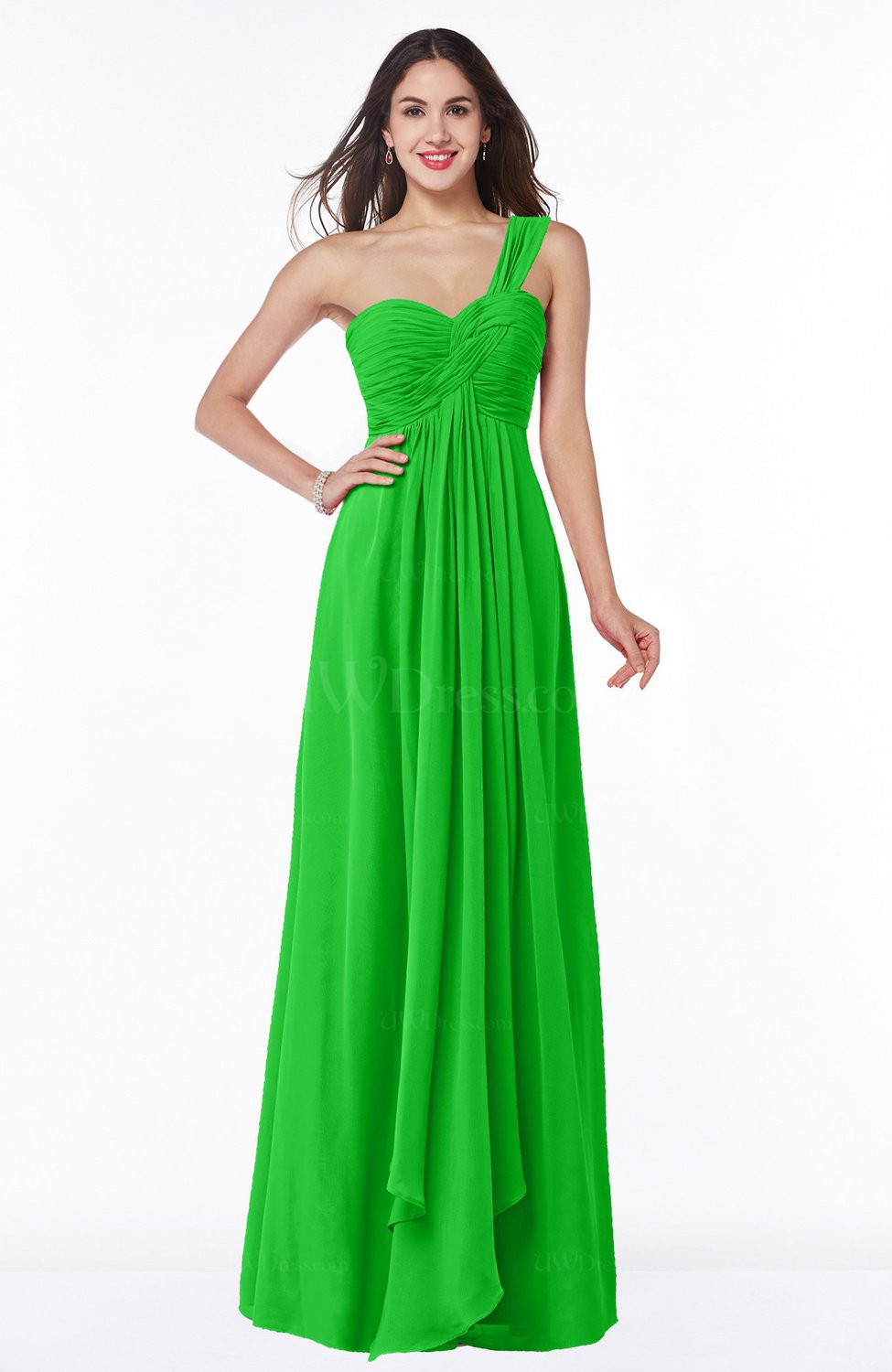 Classic green sexy one shoulder sleeveless zip up floor for Plus size one shoulder wedding dress