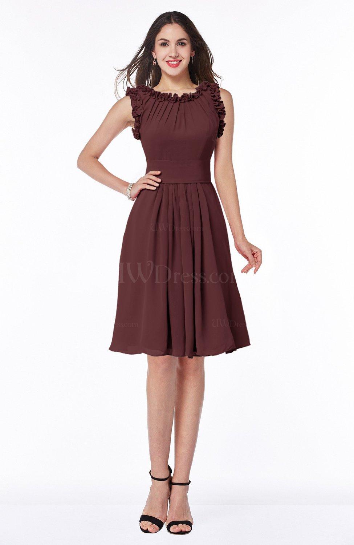 Burgundy elegant a line zipper chiffon knee length plus for Burgundy wedding dresses plus size