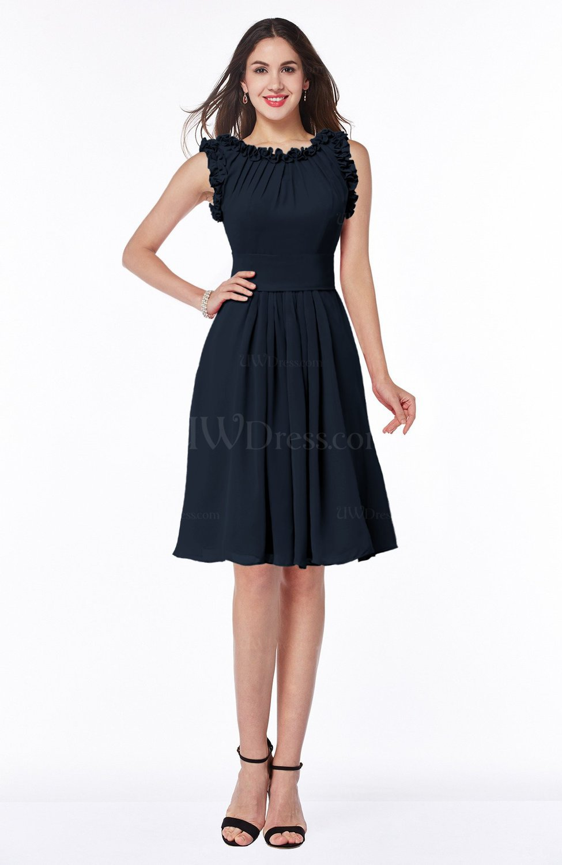 Navy blue elegant a line zipper chiffon knee length plus for Navy plus size dress for wedding