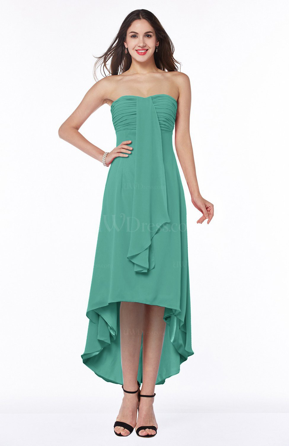 Mint Green Romantic A-line Strapless Zipper Chiffon Tassel Plus Size ...