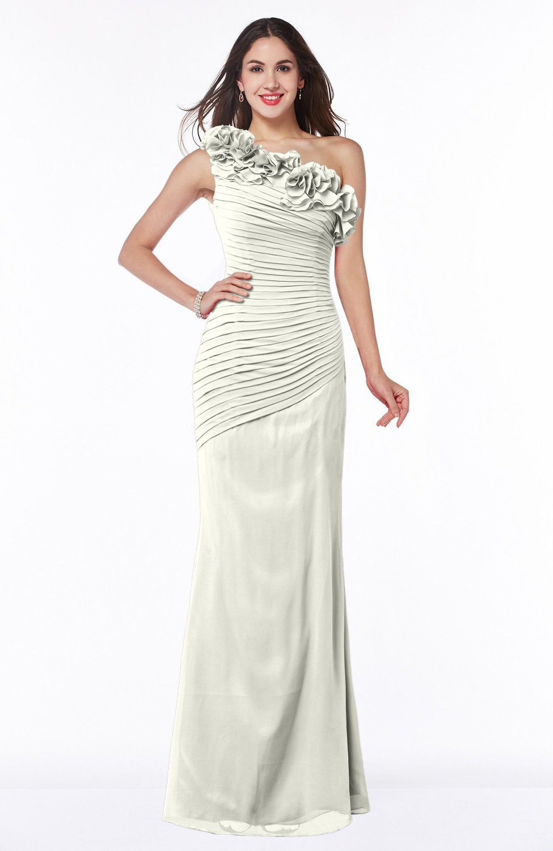 Ivory modern asymmetric neckline sleeveless chiffon floor for Chiffon plus size wedding dresses