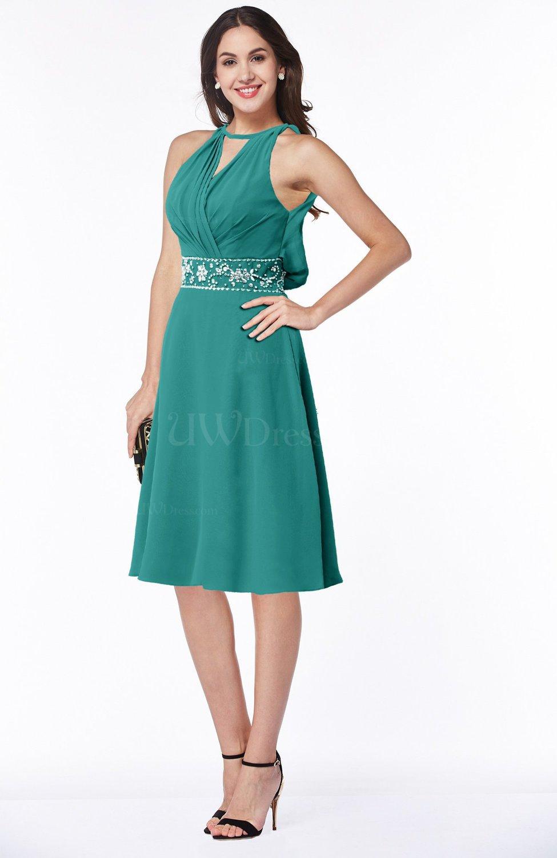 Emerald Green Mature A-line Halter Lace up Chiffon Rhinestone Plus ...