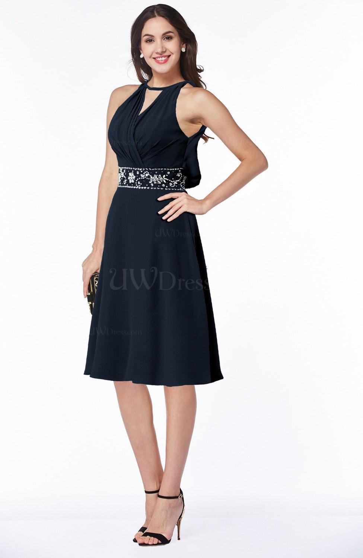 Navy blue mature a line halter lace up chiffon rhinestone for Plus size blue wedding dresses
