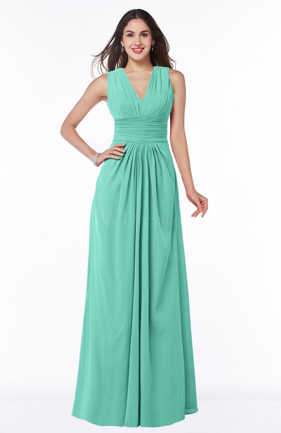 Mint green traditional v neck zipper chiffon sash plus size traditional v neck zipper chiffon sash plus size bridesmaid dresses ombrellifo Image collections