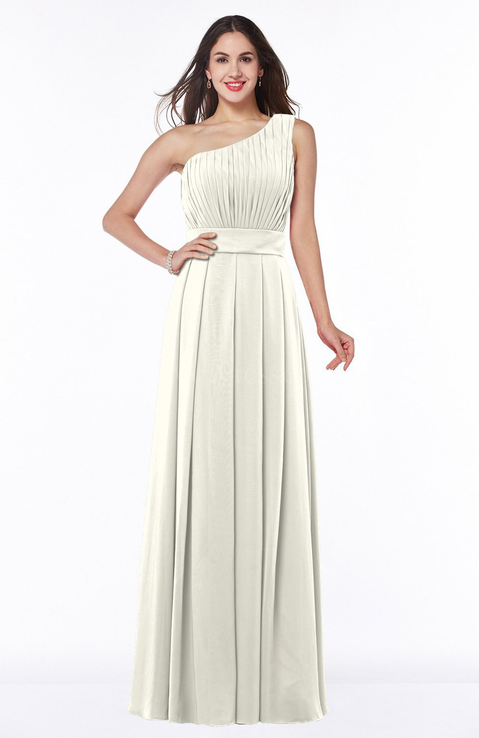 Cream Plain Asymmetric Neckline Sleeveless Half Backless