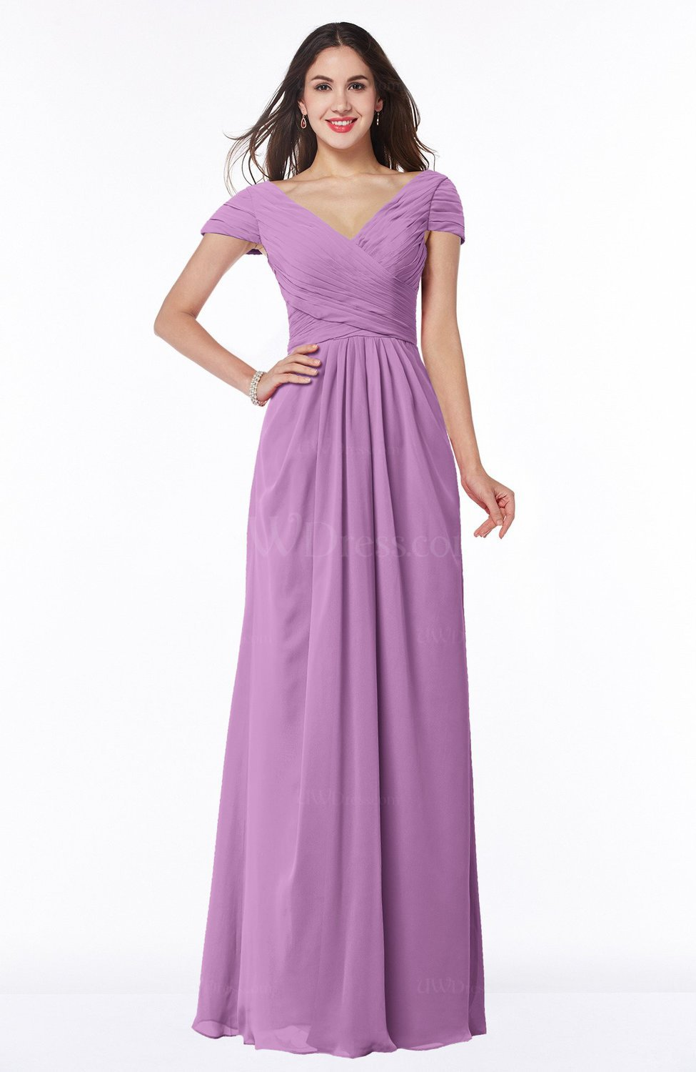Orchid Modest Short Sleeve Chiffon Floor Length Ruching Plus Size ...