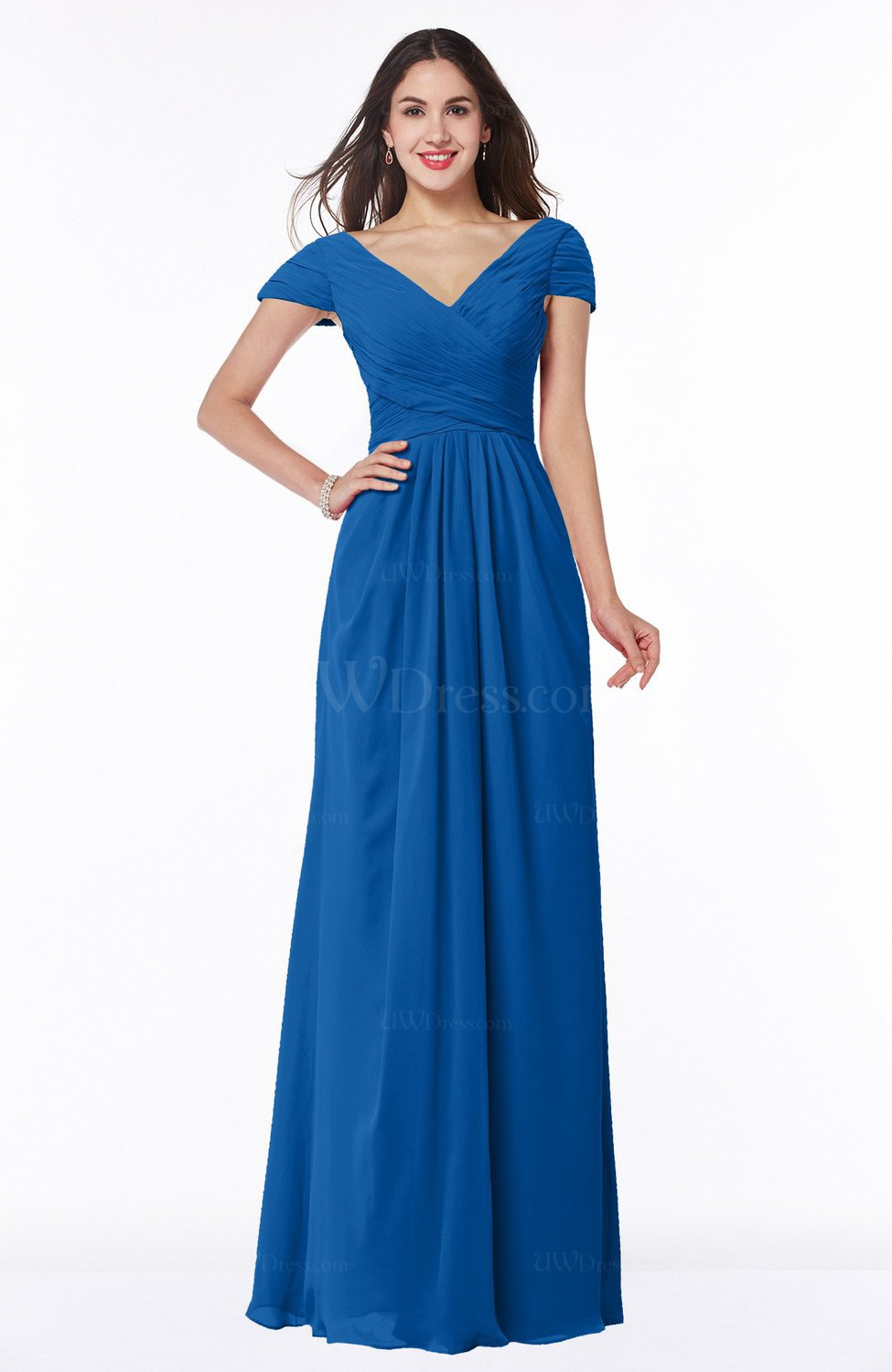 Royal blue modest short sleeve chiffon floor length for Blue wedding dresses plus size