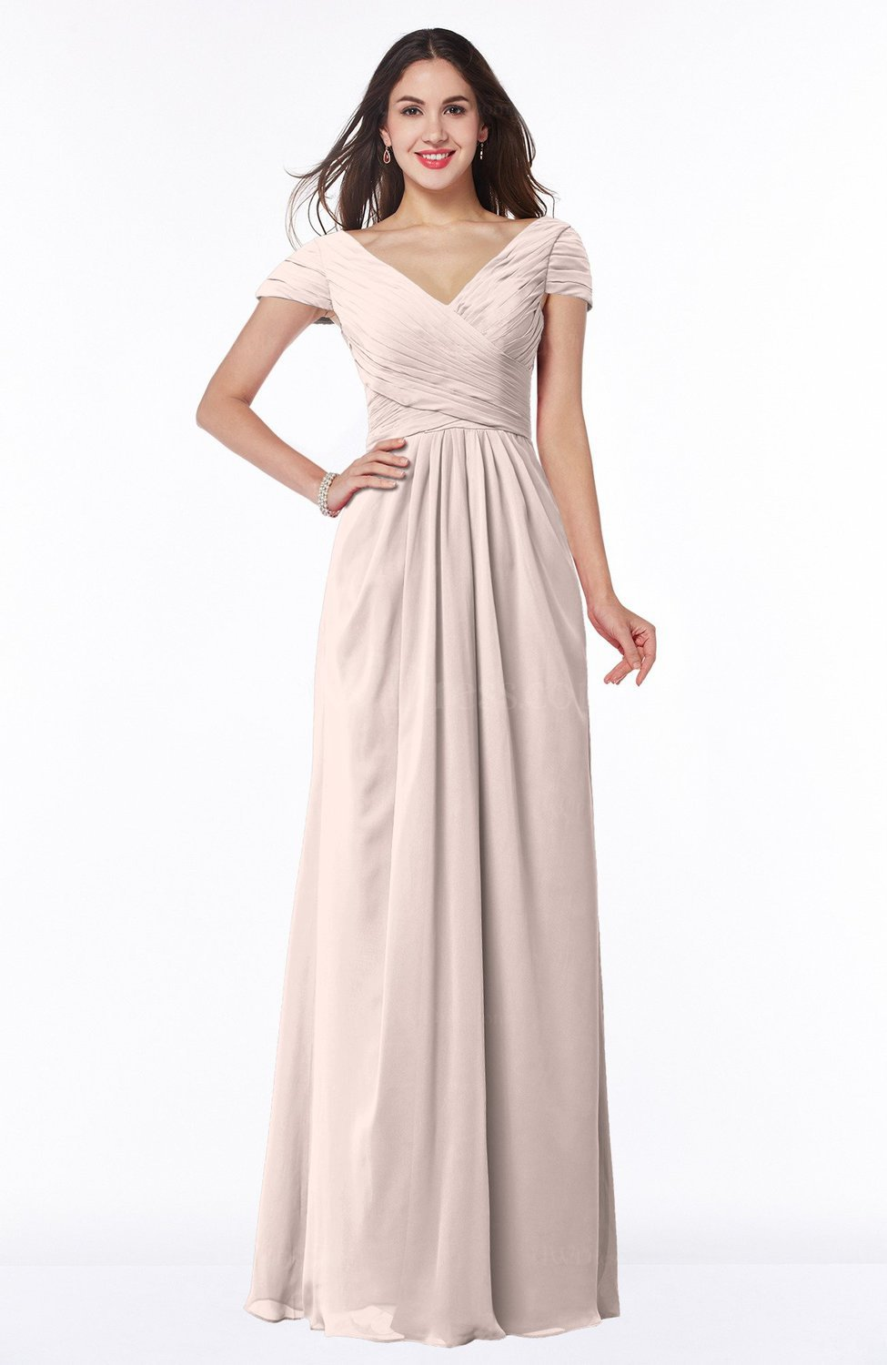 Silver Peony Modest Short Sleeve Chiffon Floor Length Ruching Plus Size Bridesmaid Dresses