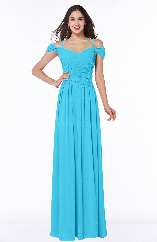 Turquoise Gorgeous A-line Off-the-Shoulder Short Sleeve Chiffon Plus ...