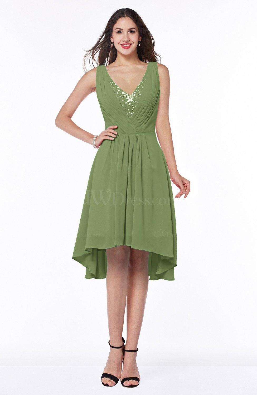 Moss Green Elegant A Line Sleeveless Zip Up Rhinestone Plus Size