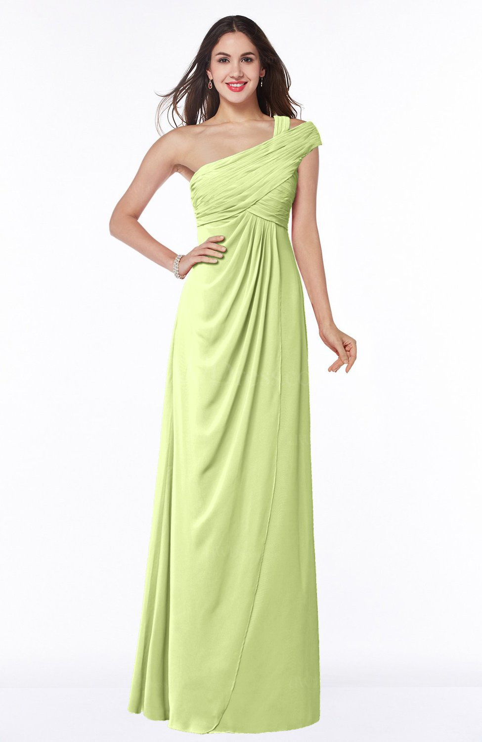 Lime Green Elegant One Shoulder Chiffon Floor Length Ruching Plus ...