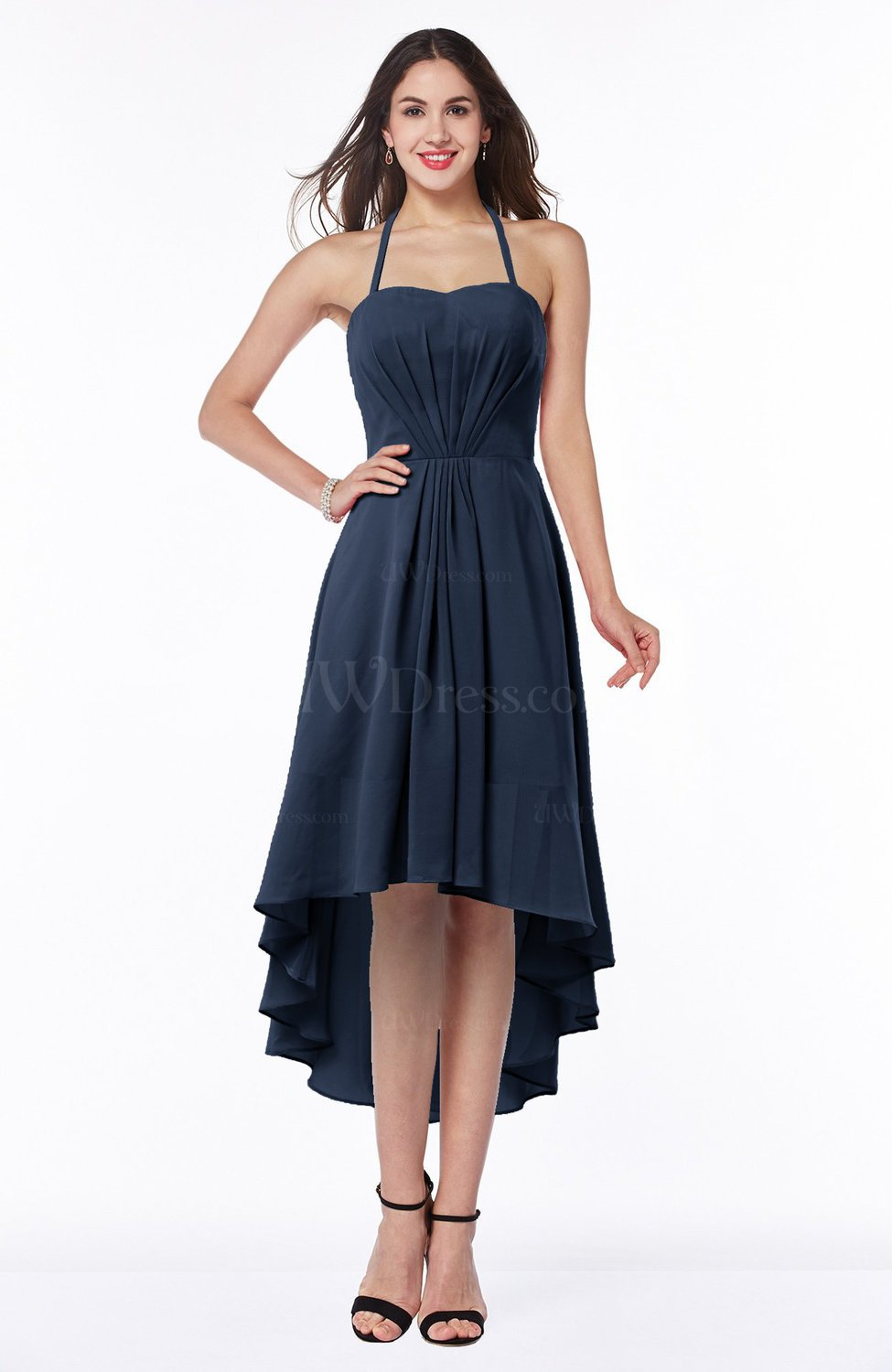 Navy blue casual a line sleeveless zip up chiffon for Navy plus size dress for wedding