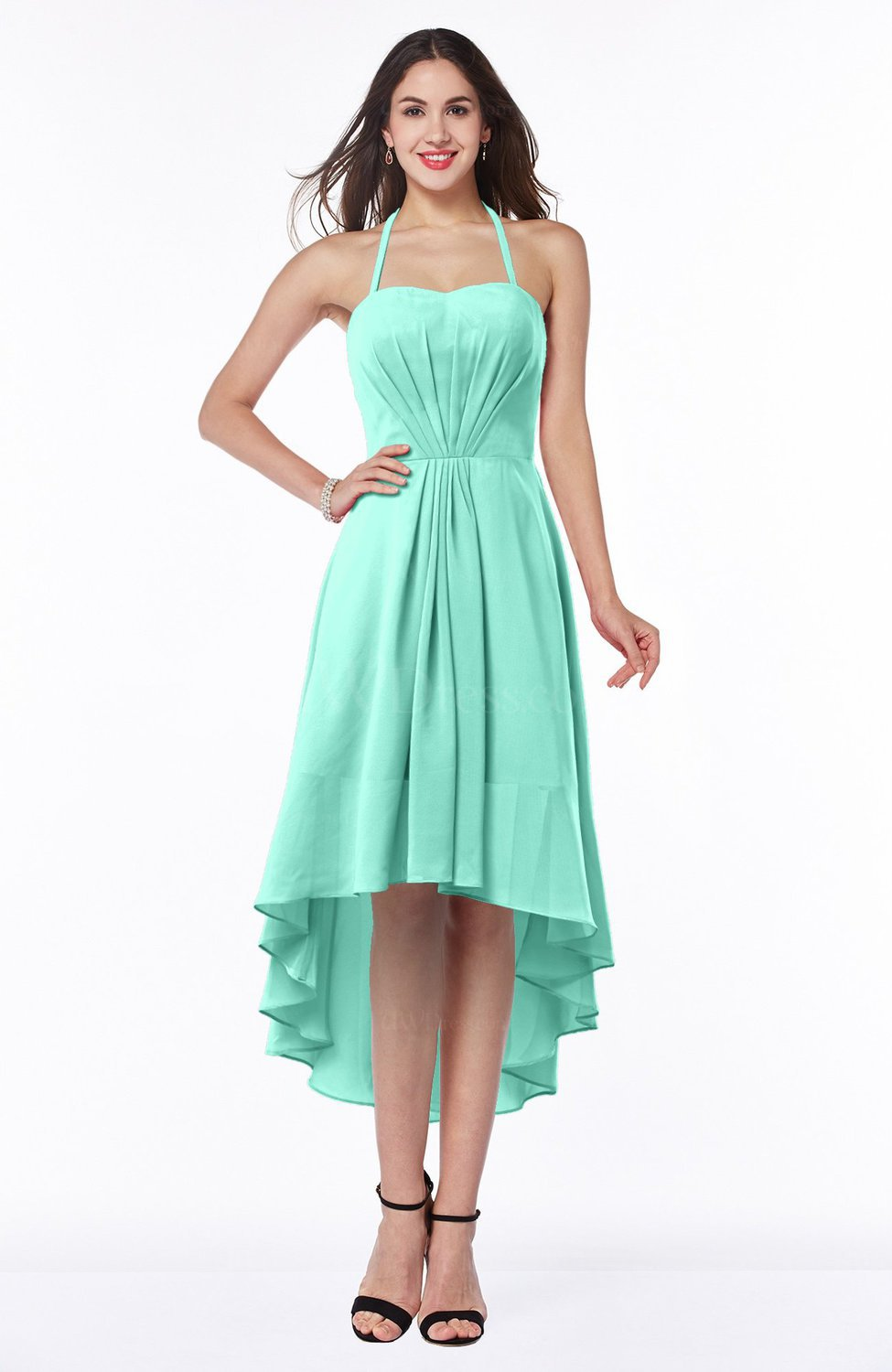 Seafoam Green Casual A Line Sleeveless Zip Up Chiffon Asymmetric Plus Size Bridesmaid Dresses