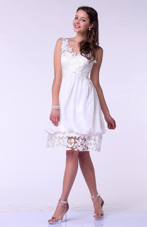 White Modern Baby Doll V-neck Sleeveless Knee Length Plus Size Prom ...
