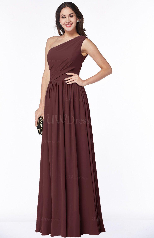 Burgundy elegant asymmetric neckline chiffon floor length for Burgundy wedding dresses plus size
