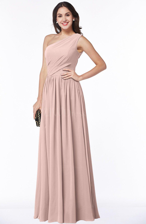 Dusty Rose Elegant Asymmetric Neckline Chiffon Floor Length Pleated ...