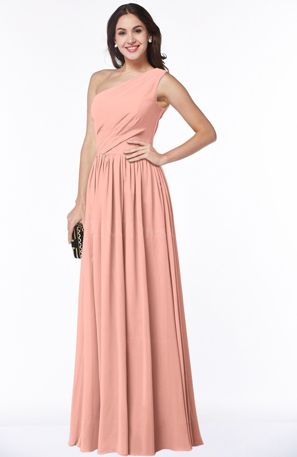 Peach Elegant Asymmetric Neckline Chiffon Floor Length Pleated Plus ...