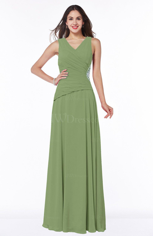 Moss green traditional sleeveless zip up chiffon floor for Chiffon plus size wedding dresses