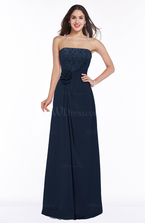Navy blue disney princess a line strapless zipper chiffon for Chiffon plus size wedding dresses