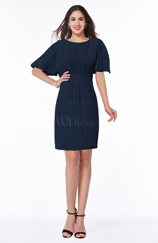Navy blue modest sheath zip up chiffon short plus size for Navy plus size dress for wedding