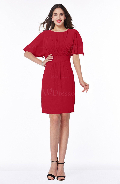 Red Modest Sheath Zip Up Chiffon Short Plus Size