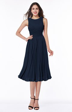 Navy Blue Modern A Line V Neck Sleeveless Tea Length Pleated Plus Size Bridesmaid