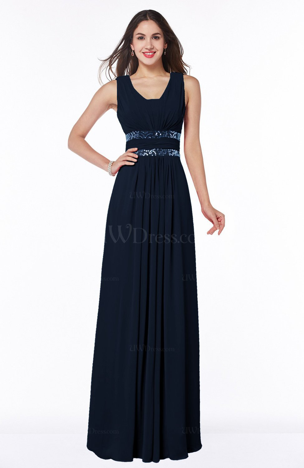 Navy blue sexy a line zipper floor length pleated plus for Floor length dresses