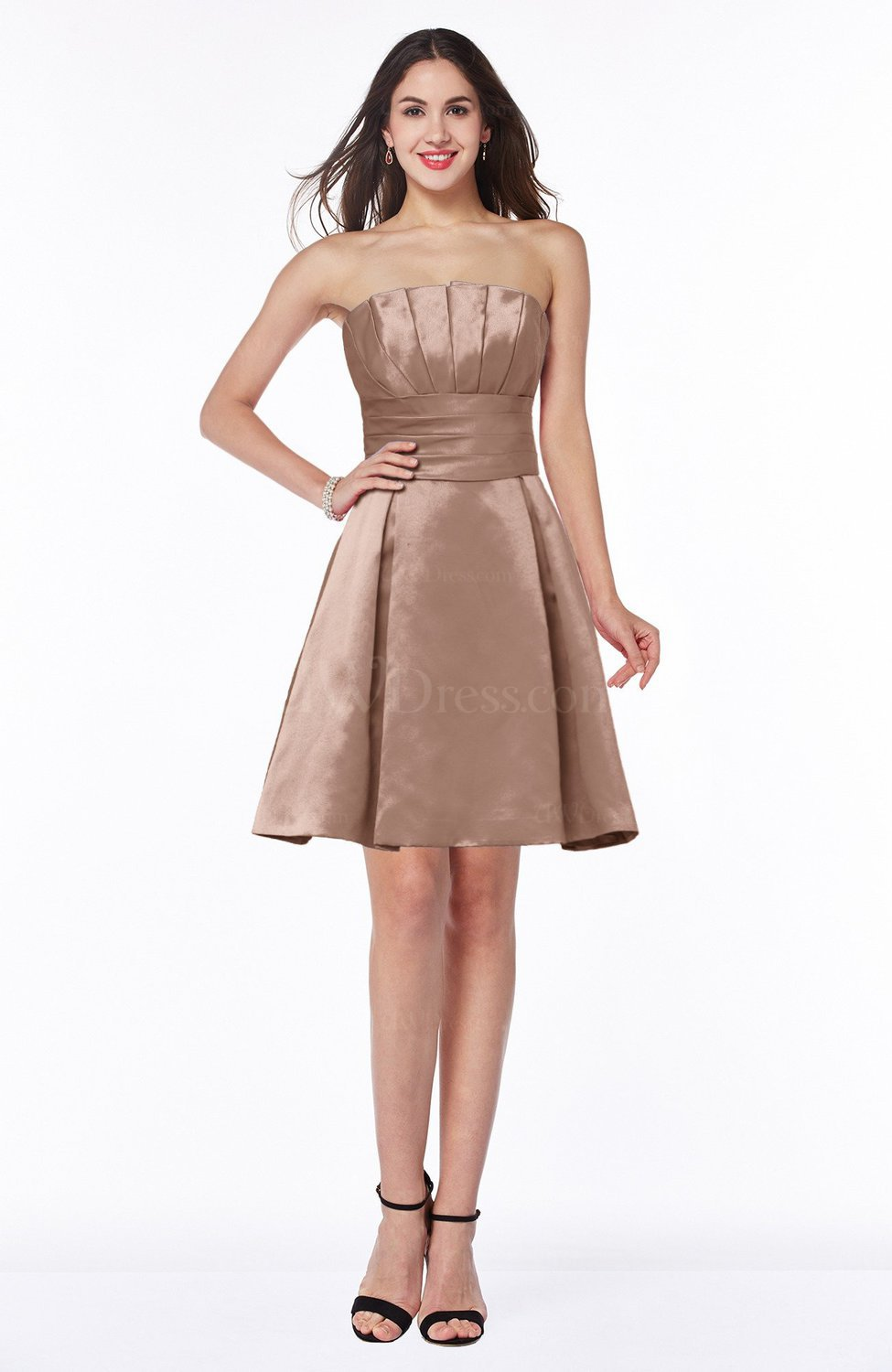 Bronze brown cute a line sleeveless zipper short pleated for Brown dresses for a wedding